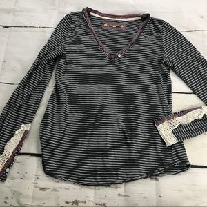 Anthro • Little Yellow Button Striped Long Sleeve